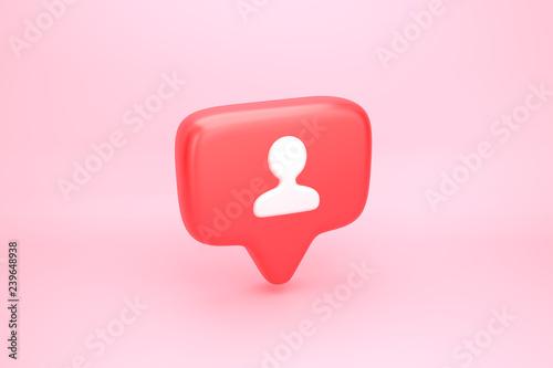 Fotografia, Obraz  One friend or follower social media notification with heart icon