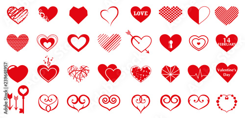 Vector Set Of Red Hearts Drawings Hearts Of Different Shapes Creative Design Hearts For Valentine S Day And Others Buy This Stock Vector And Explore Similar Vectors At Adobe Stock Adobe Stock