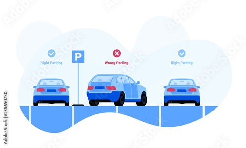 Foto Right and wrong car parking examples vector illustration for web and printing