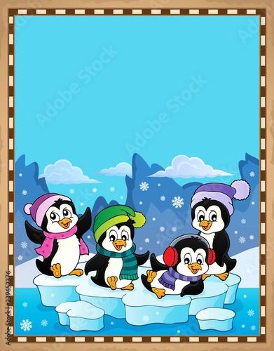 Happy winter penguins topic parchment 1