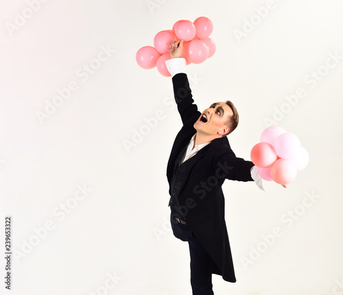 May Your Birthday Be Filled With Joy Man Mime Makeup On Party Balloons Happy Or Anniversary Celebration