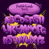 Fototapeta Młodzieżowe - purple bomb font. vector set of letters in the style of comics and graffiti