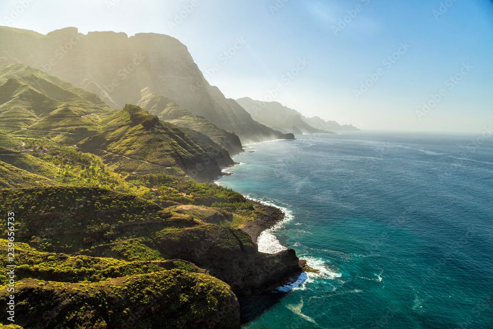 Fototapety, obrazy: Green hills and cliffs of Tamadaba Natural Park on the coast of the ocean near Agaete, Gran Canaria island, Spain