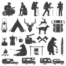 Set Of Camping Icons Isolated On The White Background.