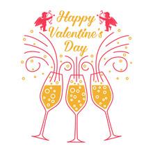 Happy Valentines Day. Stamp, B...