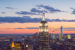 Cityscape with the Empire State Building at twilight, view from the Top of the Rock observation deck at Rockfeller Center, Manhattan, New York City, USA