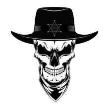 Skull Sheriff In Hat. Black An...