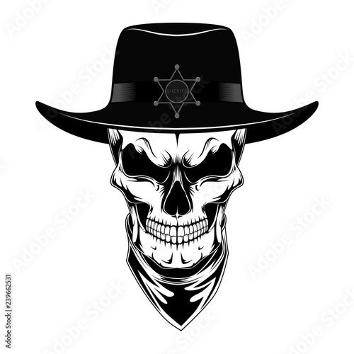 48ddef68 Skull sheriff in hat. Black and white vector image on white background.
