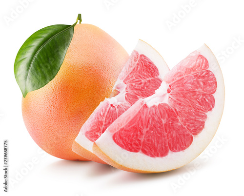 grapefruit with slices isolated on a white background