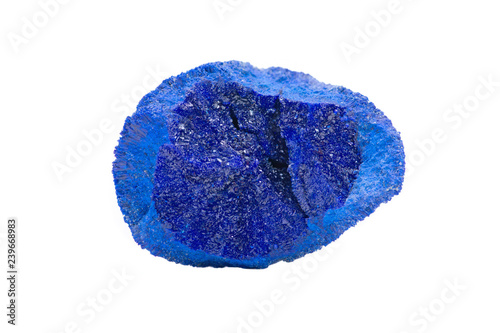 Dark blue druse covering the inside of Azurite Partial Nodule from Russia, isolated on white background Canvas Print