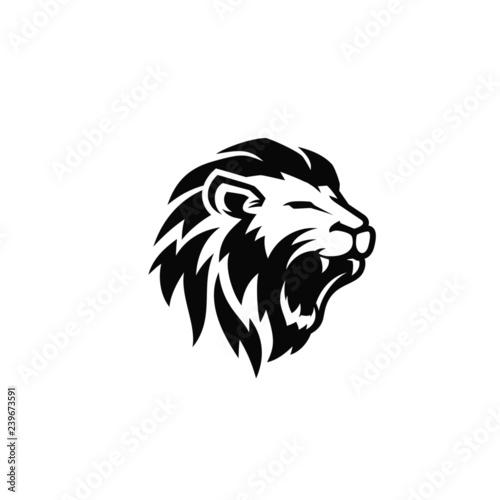 Photo  Roaring lion logo template design
