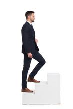 Stylish Caucasian Businessman Walking Up On Steps Isolated