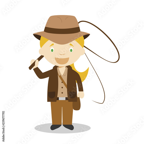 Fototapeta Cute cartoon vector illustration of an adventurer