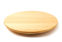 Bamboo Or Wooden Rotating Tray Isolated On White Background.