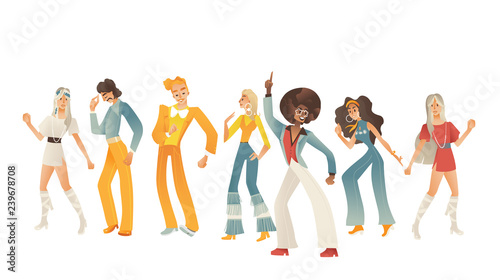 Disco dancing people vector illustration set with various men and women with retro clothes and hairstyles in cartoon gradient style isolated on white background Poster Mural XXL