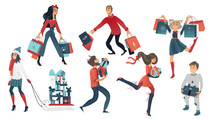Vector 2019 New Year, Christmas Holiday Sale, Discount Or Clearance Symbols And Characters Set. Happy Cheerful Men And Women, Kids Running With Present Boxes, Shopping Bags, Packages