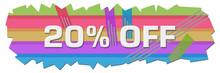 Discount Twenty Percent Off Colorful Lines Cutout