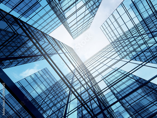 Obraz View of high rise glass building and dark steel window system on blue clear sky background,Business concept of future architecture,looking up to the sun light on the top of building. 3d render - fototapety do salonu