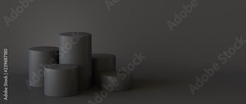 Obraz Empty black podium on dark background. 3D rendering. - fototapety do salonu