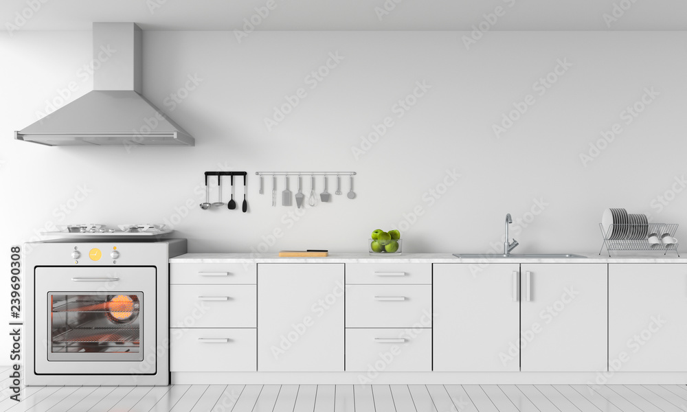 Fototapety, obrazy: Modern white kitchen countertop with gas stove and sink for mockup, 3D rendering