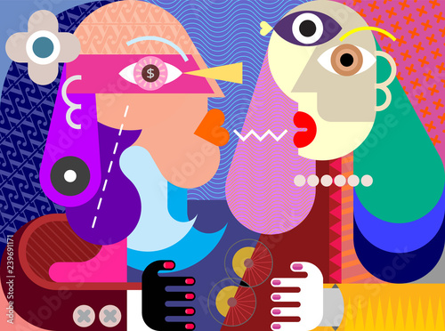 Aluminium Prints Abstract Art A Man and A Woman vector illustration