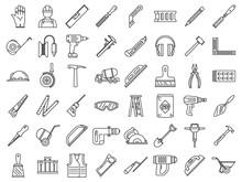 Masonry Worker Construction Icon Set. Outline Set Of Masonry Worker Construction Vector Icons For Web Design Isolated On White Background