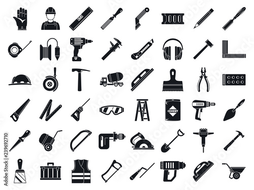 Masonry worker tools icon set Billede på lærred