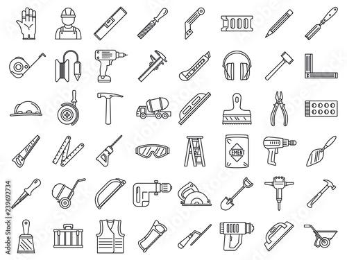 Fotografía Masonry worker construction icon set