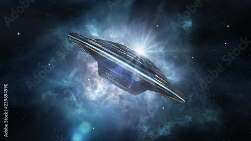 Alien spaceship in deep space