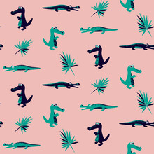 Crocodile And Dino Cute Green And Blue Kids Pink Pattern Design. Seamless Textile Fabric Vector Texture.