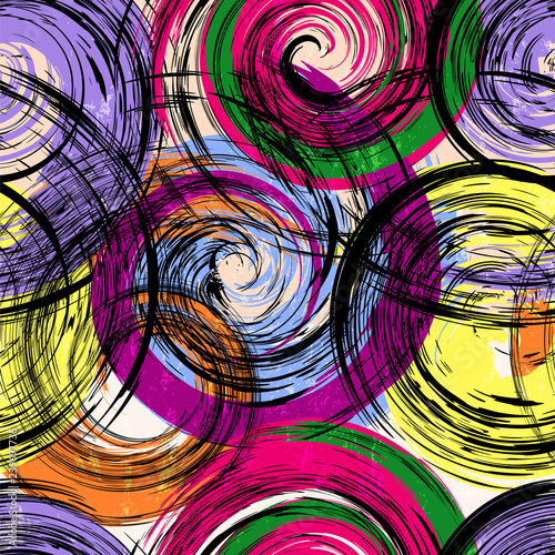 seamless background pattern, with circles/waves, paint strokes and splashes, grungy