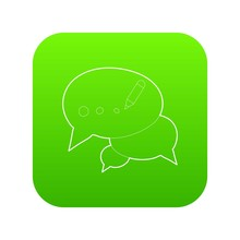 Chat Icon Green Vector Isolated On White Background