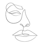 One line drawing face. Modern minimalism art, aesthetic contour. Abstract woman portrait minimalist style. Single line vector illustration - 239700352
