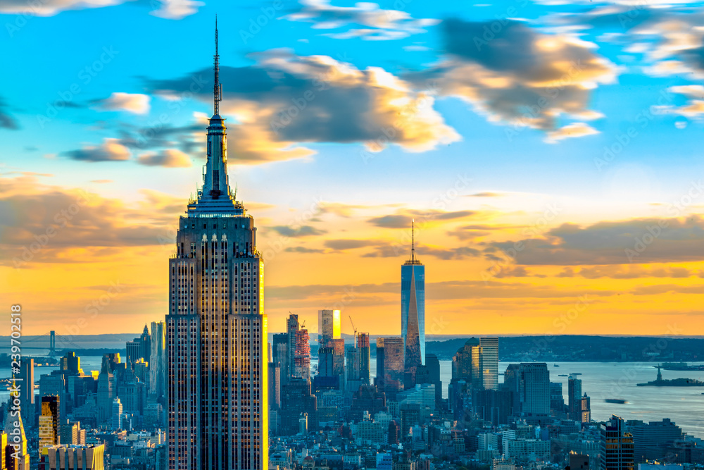 Obraz New York City skyline and iconic buildings, United States of America fototapeta, plakat
