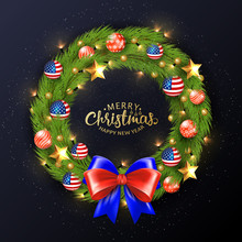 Merry Christmas 2019 Poster. Christmas Wreath With Balls Painted In The American Flag. Bright And Festive Illustration.