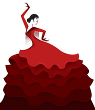 Spanish Girl Dancing Flamenco