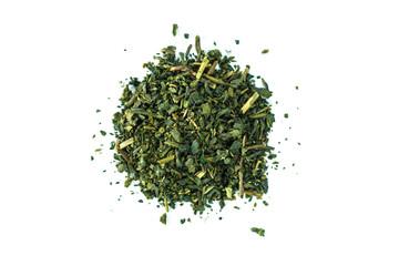 Heap green tea on white background.