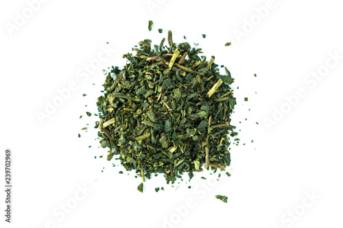 Heap green tea on white background.