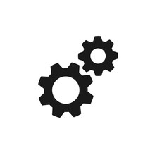 Black Isolated Icon Of Two Cogwheels On White Background. Silhouette Of Gear Wheel. Flat Design. Settings.