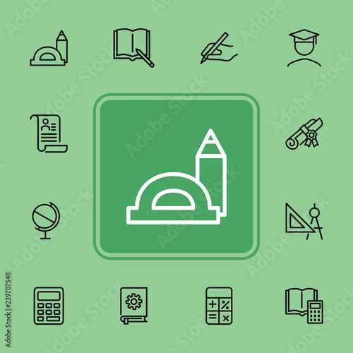 Education line icons  Set of line icons on white background