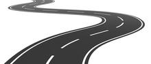 Winding Asphalt Road Isolated Against White Background. 3d Illustration
