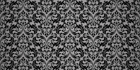 Fototapeta Czarno-biały Wallpaper in the style of Baroque. Seamless vector background. Black and grey floral ornament. Graphic pattern for fabric, wallpaper, packaging. Ornate Damask flower ornament