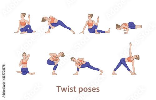 Fotografia Women silhouettes. Collection of yoga poses.