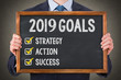 canvas print picture - New Year 2019 Goals on Blackboard