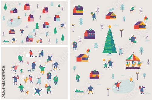 ab96cee55 Winter outdoor activities vector set. Winter season background ...