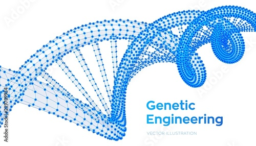 Fototapety, obrazy: DNA sequence. Wireframe DNA molecules structure mesh. DNA code editable template. Science and Technology concept. Vector illustration.