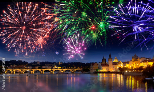 Festive firework over Charles Bridge, Prague,  Czech Republic..