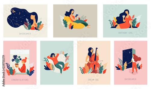 Międzynarodowy Dzień Kobiet. Wektor karty z kobietami, liśćmi, kwiatami