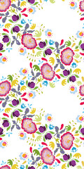 White folk art vector repeating festoon with pink flowers, ornaments and hearts. Folk art. Surface patern.