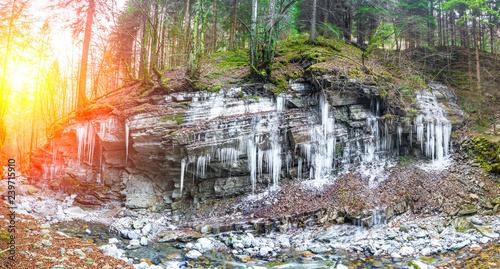 Photo stalactites of ice